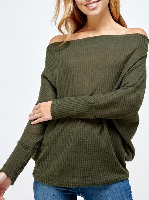 Off the Shoulder Sweater - Olive