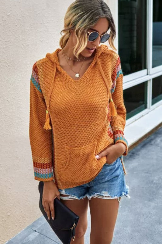 Orange Knitted Sweater w/Hoodie