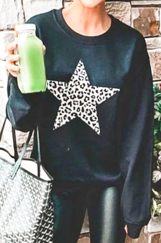 Oversized Leopard Star Sweatshirt