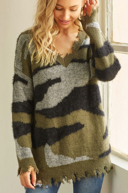 Distressed Camo Sweater