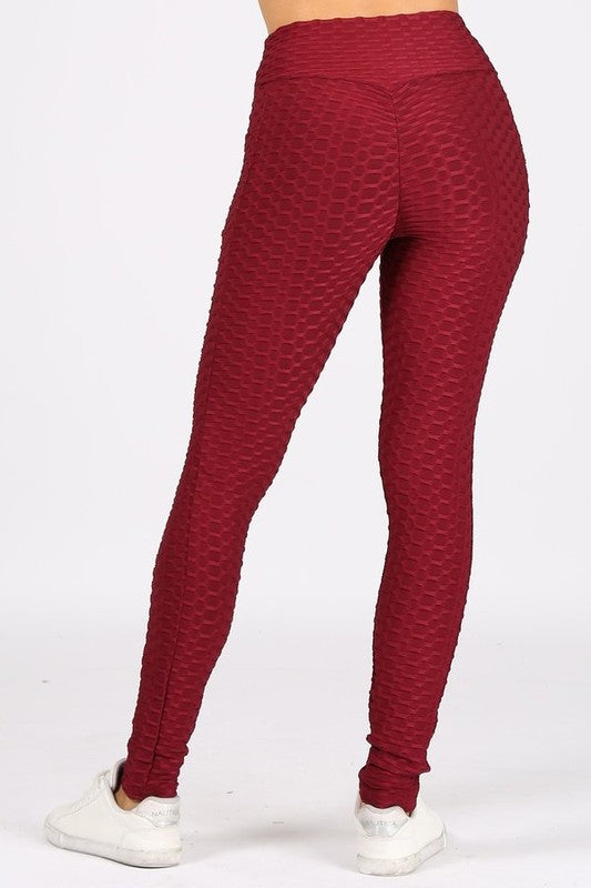 Textured Burgandy Workout Leggings