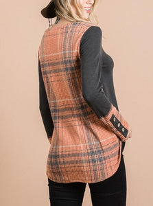 Rust & Grey Plaid Button Detail Top