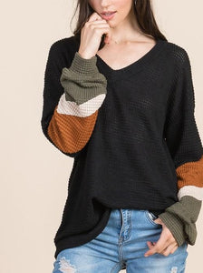 Color Block Puff Sleeve Top