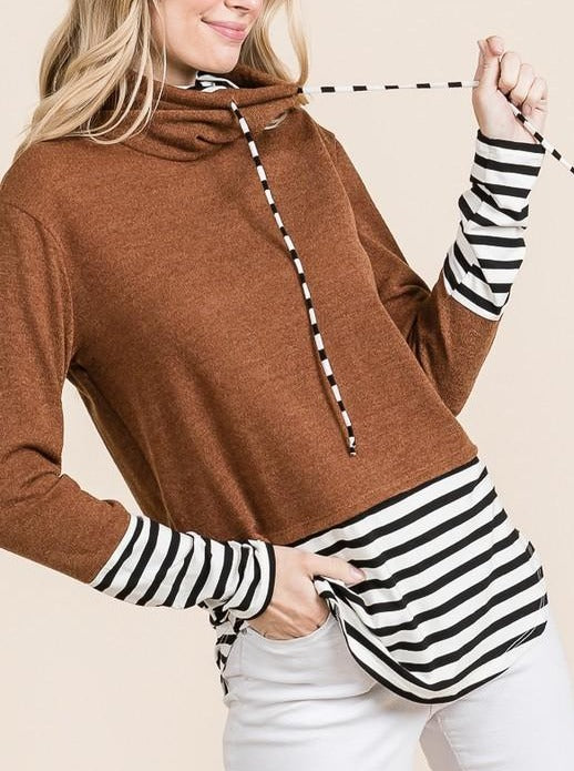Rust & Stripes Cowl Neck Sweater