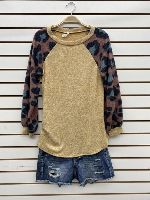 Mustard Raglan Animal Print Top