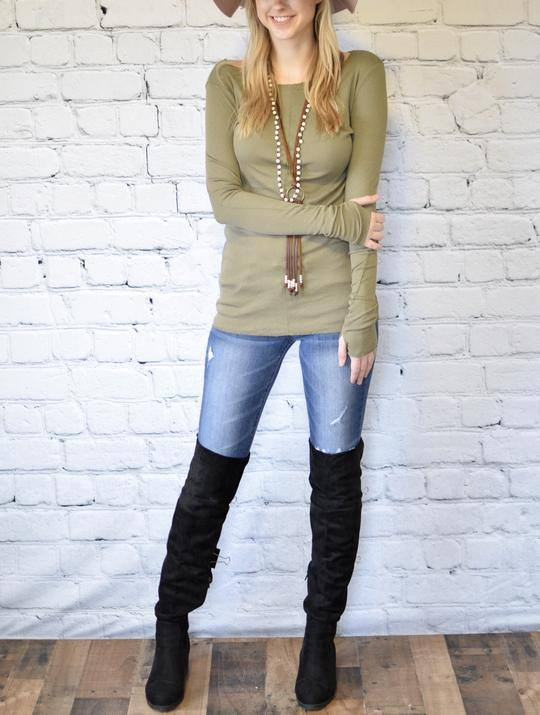 Ribbed Long Sleeve Top with Thumholes - Olive