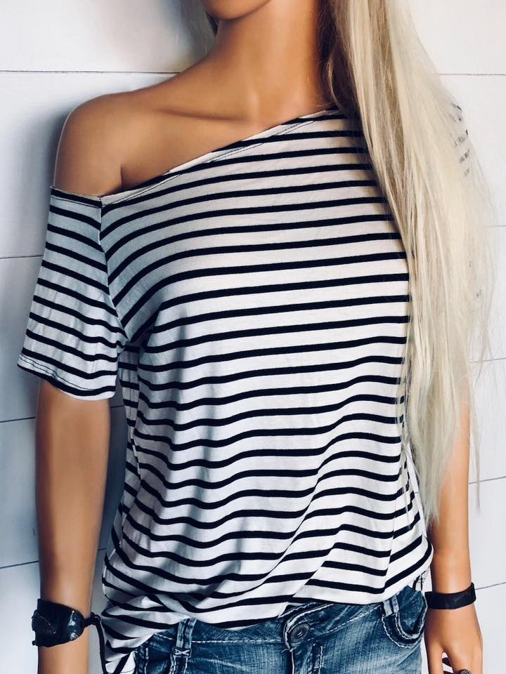 Cali-Love Black & White Stripe Off the Shoulder Top