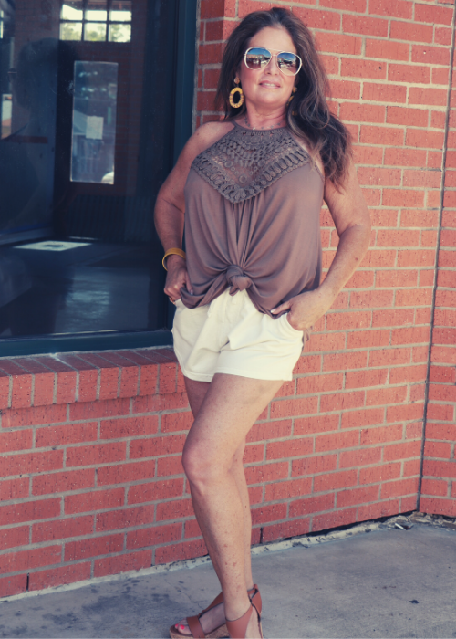 Taupe Crochet Lace Top