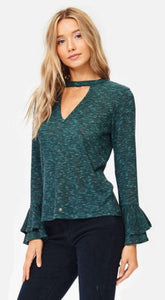 Pine Green Bell Sleeve Melange Knit Top with Choker