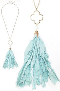 Fabric Tassel Necklace - Multiple Colors Available