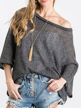 Mesh Knit Off the Shoulder Sweater - Charcoal