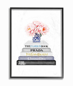 Watercolor Book Stack Fashion Candle Pink Rose