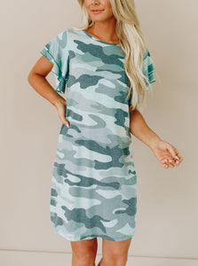 Camo Ruffle Dress