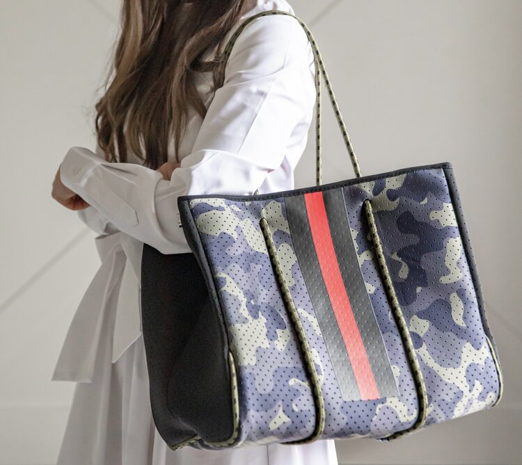 Camo Red Stripe Tote