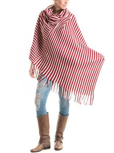 Red & White Stripe Poncho