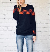 Red & Plaid Print Sweater