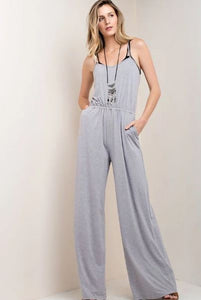 Sleeveless Wide Leg Jumper - Heather Grey