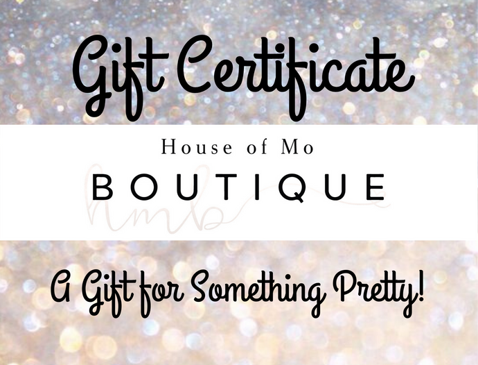 Gift Card for Something Pretty - Available for $10, $25, $50 or $100 Denominations