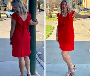 Red Solid Ruffle V-Neck Dress