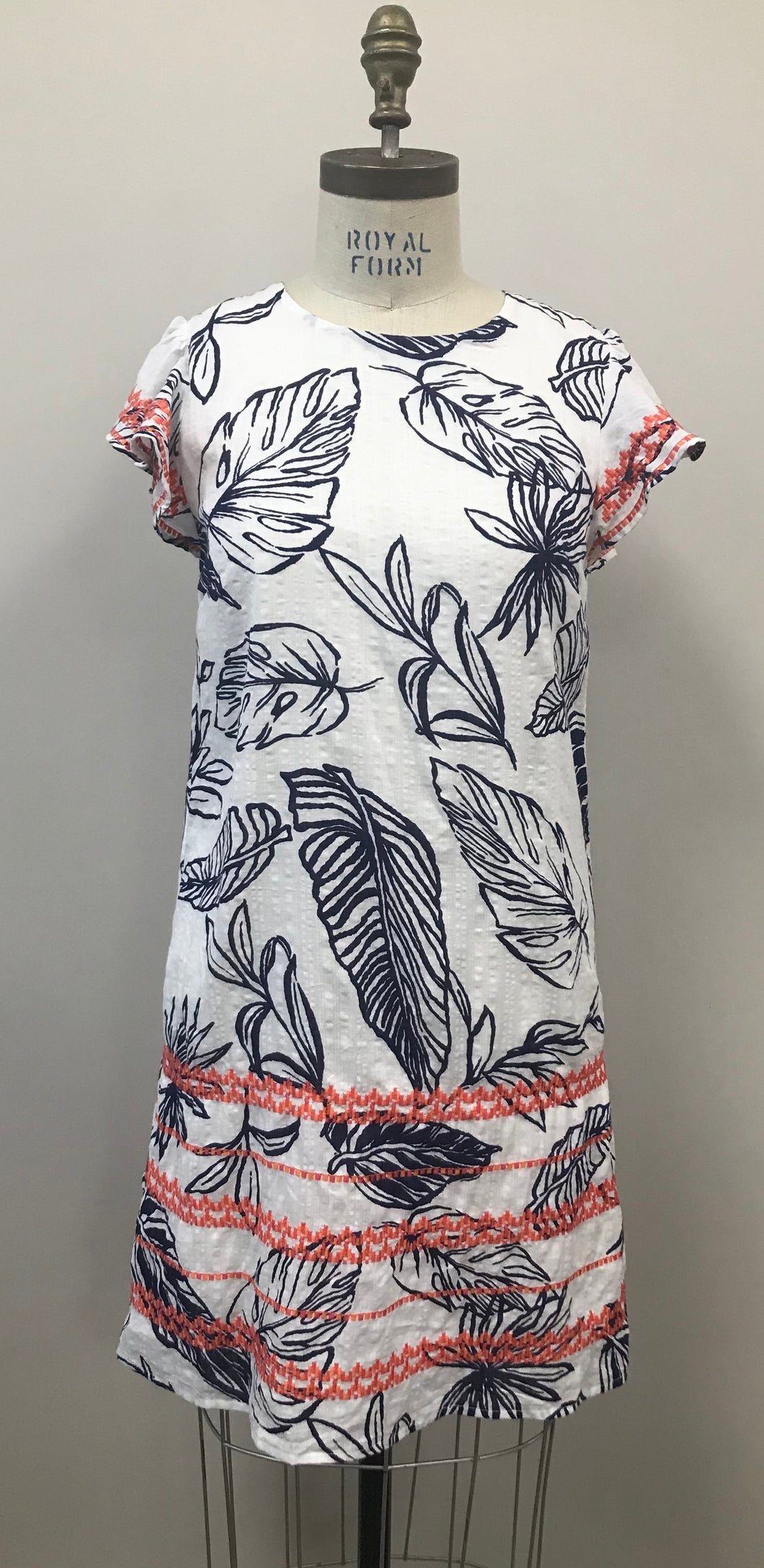 Navy Palm & Embroidered Dress