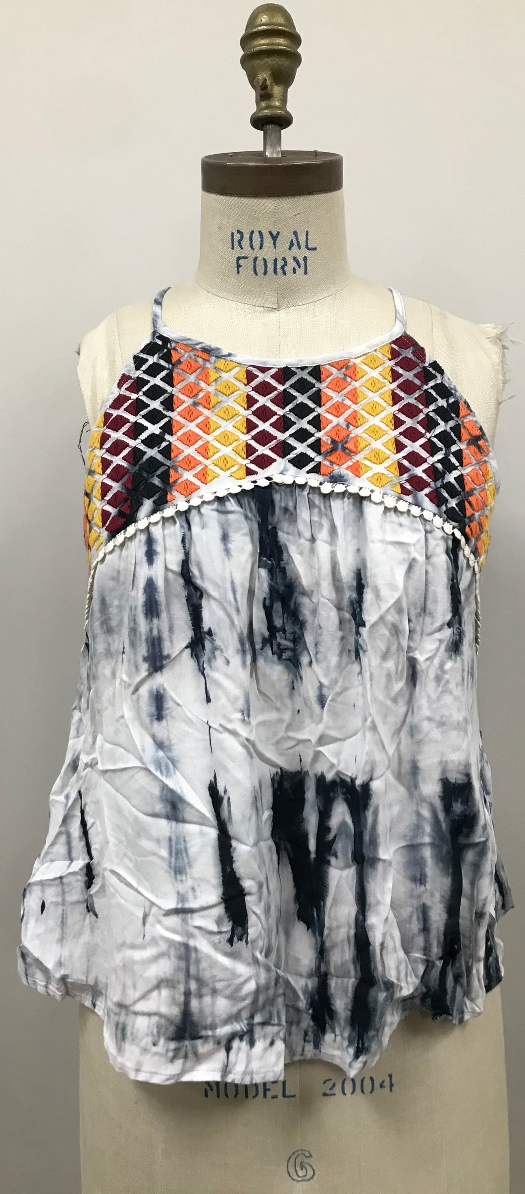 Embroidered & Tie-Dye Sleeveless Top