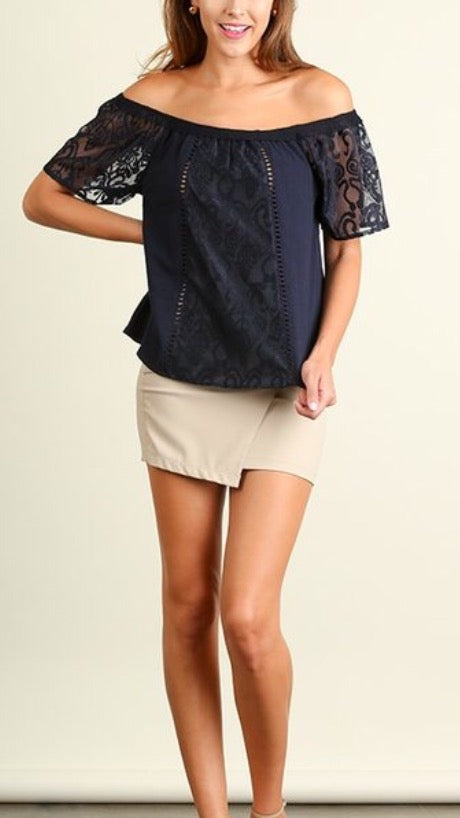 Off Shoulder Lace Detail Top