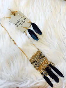 Boho Chic Feathered Necklace & Earrings