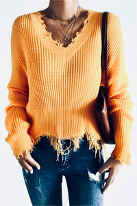 Marigold Frayed V Neck Sweater