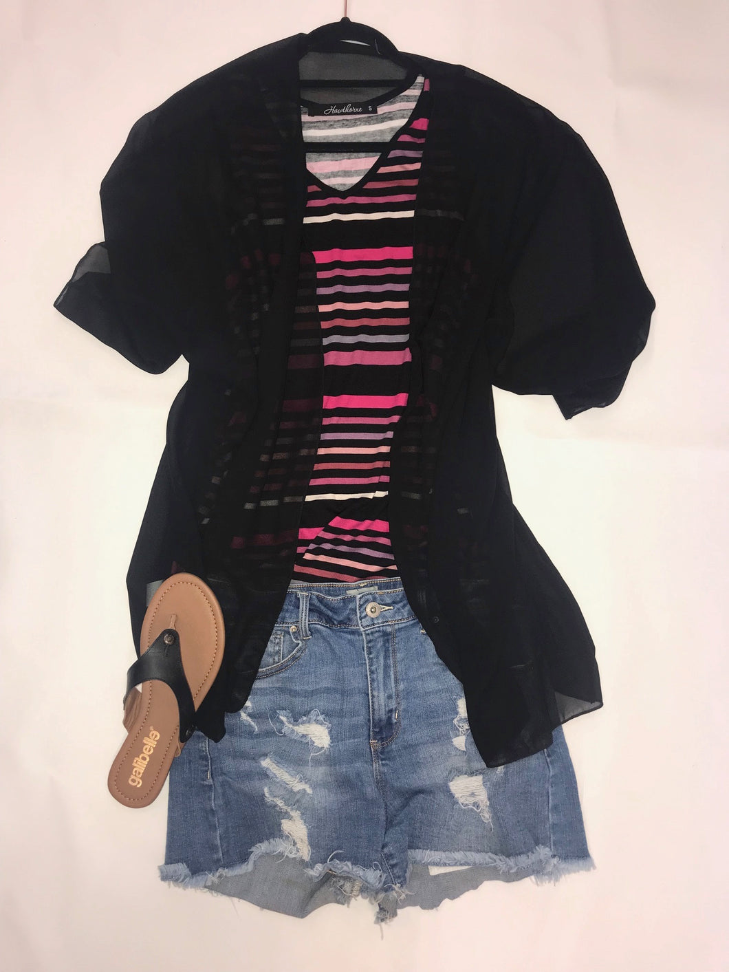 Black & Pink Stripe Sleeveless Top