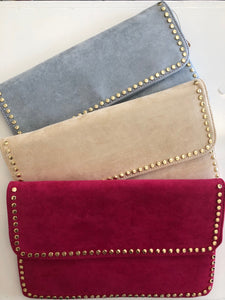 Studded Suede Clutch