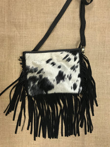 Black & White Hide Crossbag with Fringle
