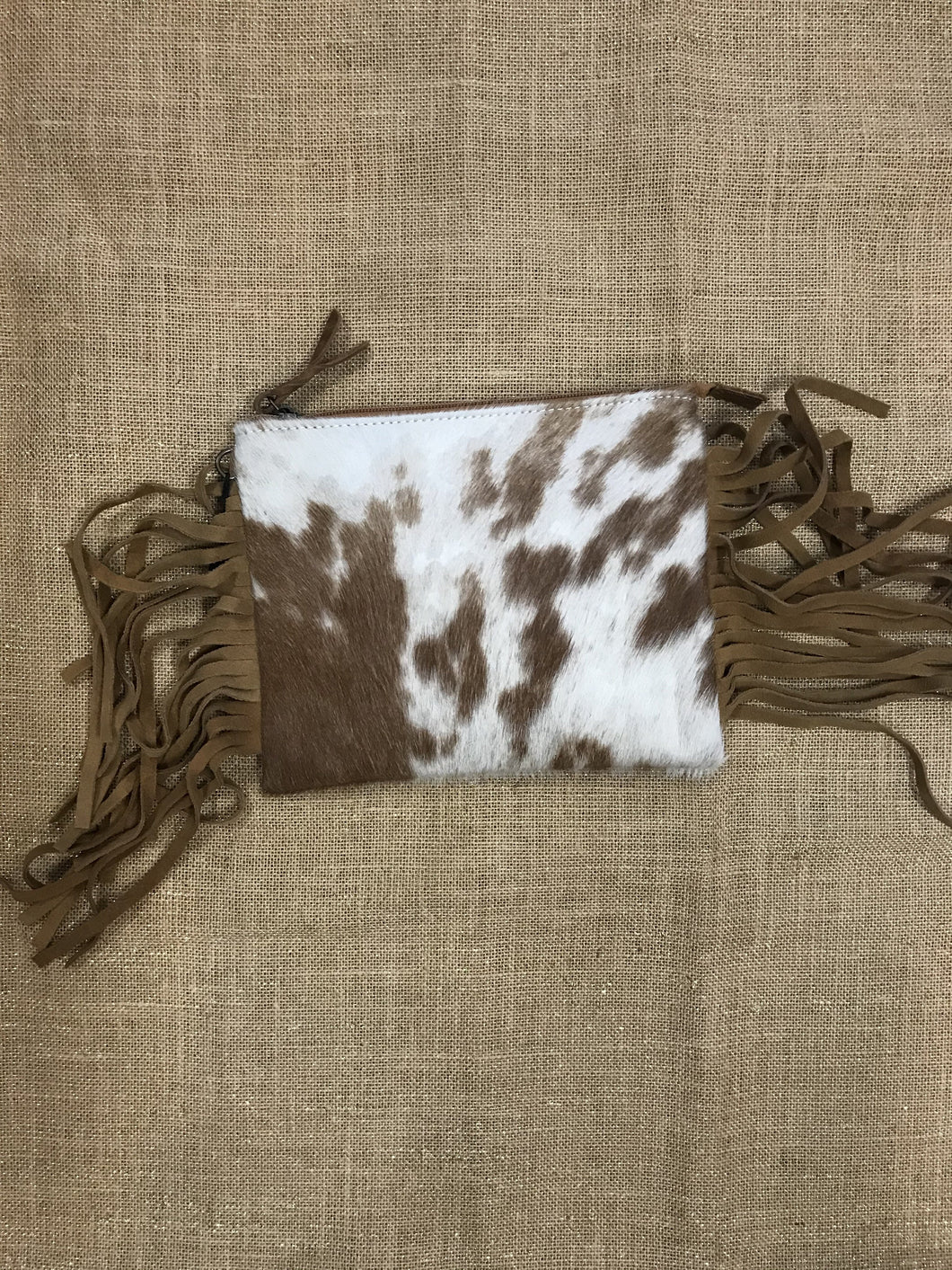 Brown & White Hide Crossbag with Fringle