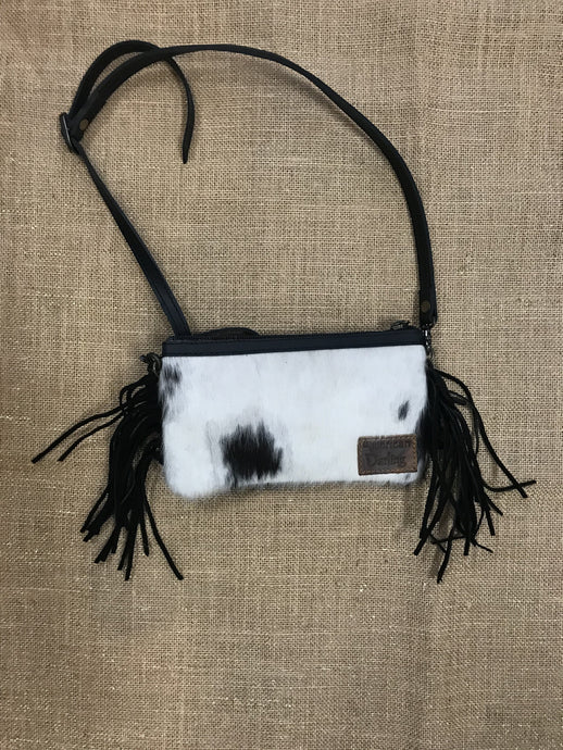 Black w/White Hide Small Crossbag with Fringe