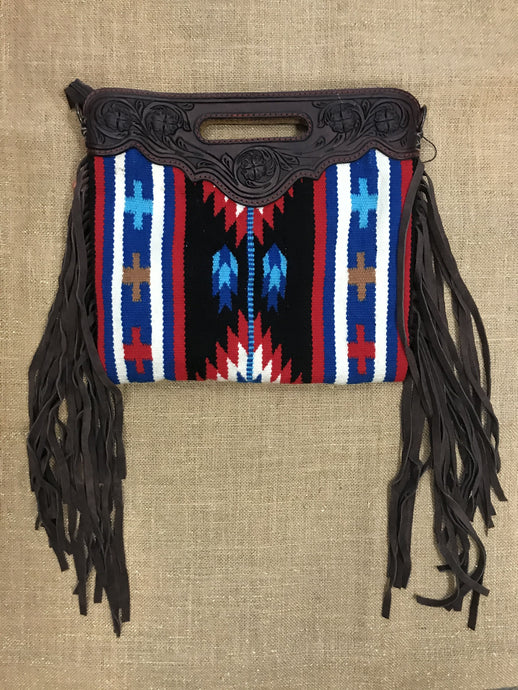 Tapestry & Leather Clutch with Leather Strap