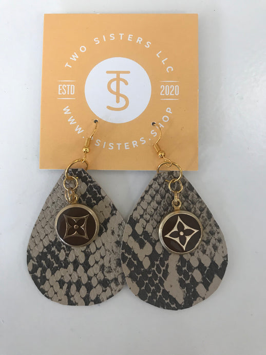 LV Snake Print Earrings