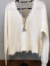Cream Frayed V Neck Sweater