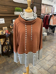 Rust with Stripes Cowel Sweater