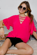 Fuchsia Lace Up with Bell Sleeves