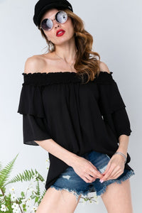 Off the Shoulder Ruffle Blouse - Black