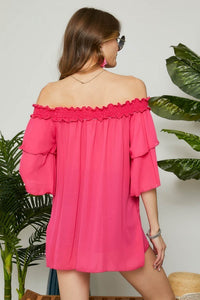 Off the Shoulder Ruffle Blouse - Fuchsia