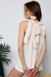 White Swan Ruffle & Bow Top