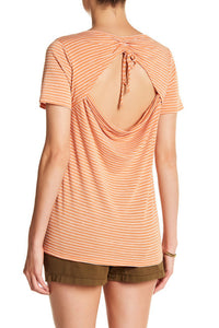 Rust & White Striped Tie Back Tee