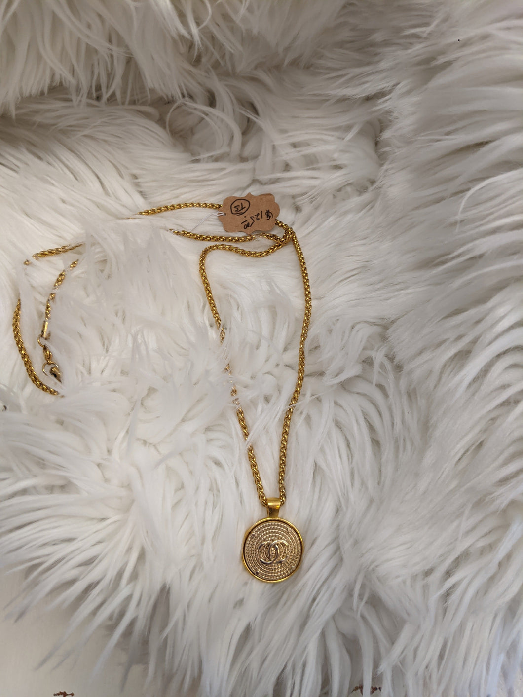 TS125 - Gold Chanel Button Necklace on 1950's Vintage Chain