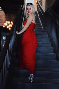 Tube Top Maxi Dress - Red