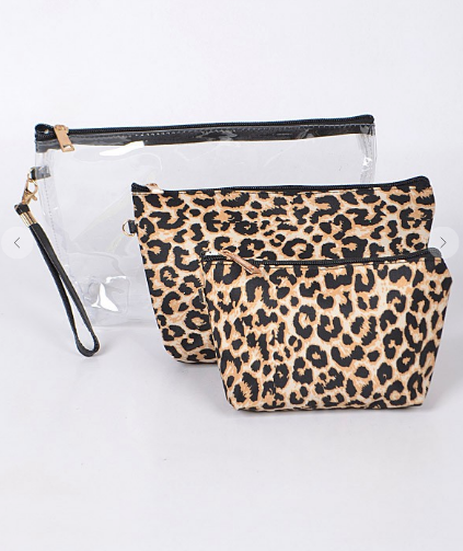 Set of 3 Leopard Travel Pouch
