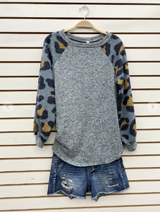 Raglan Animal Print Top