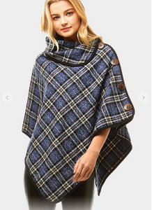 Plaid & Button High Neck Poncho - 3 Options