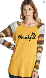 Thankful Long Sleeve Top with Striped Sleeves