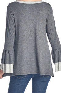 Football Top with Ruffle Sleeves - Dark Grey