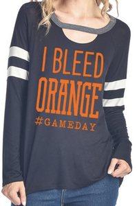 I Bleed Orange - Sporty Keyhole Gameday Shirt